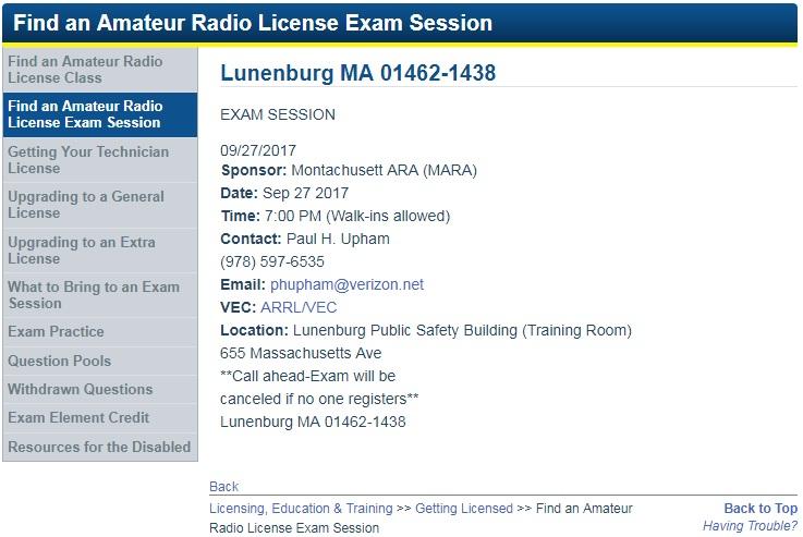 Exam session details