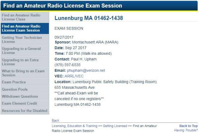 Exam session details